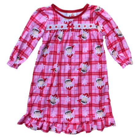 Infant & Toddler Girls Pink Plaid Flannel Elf on Shelf Nightgown Holiday - Holiday Nightgown