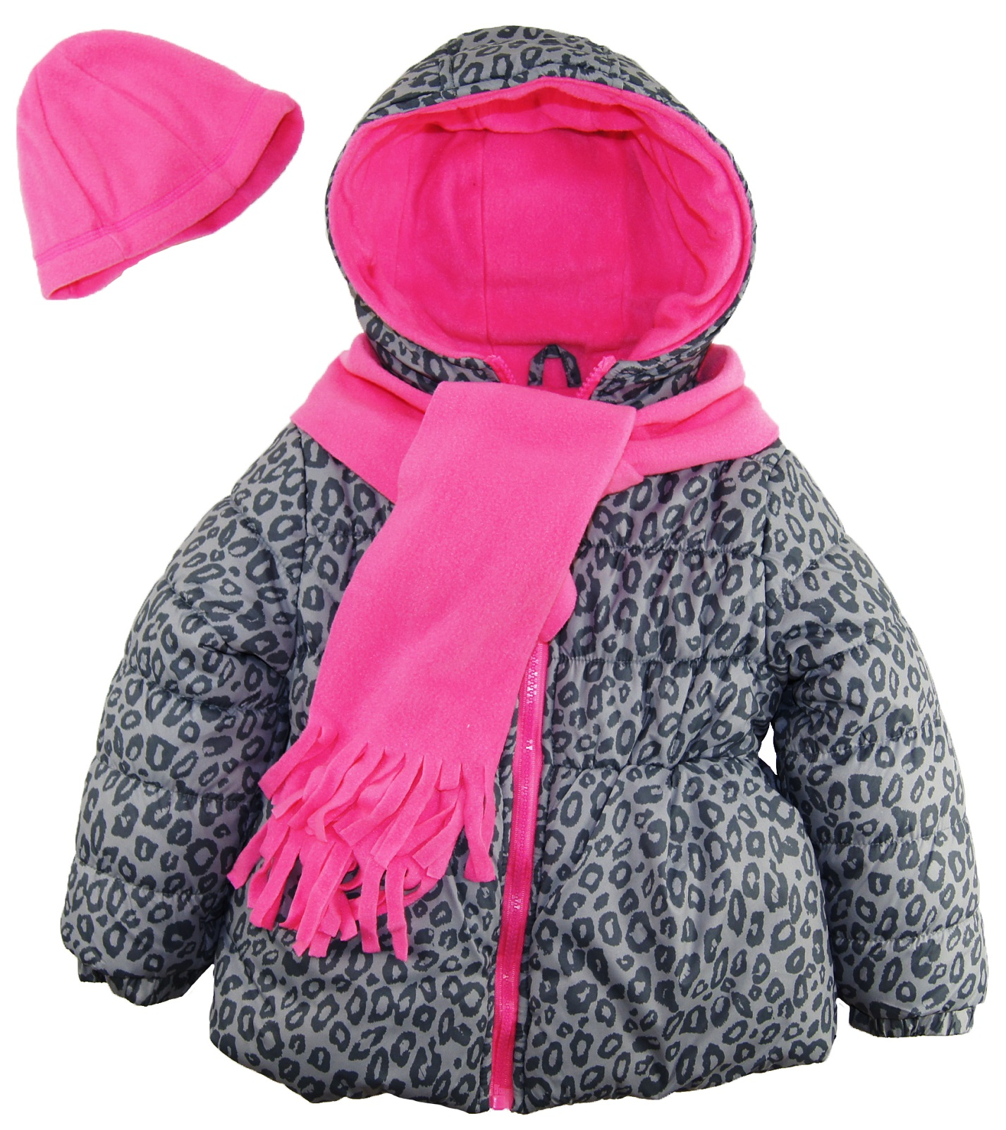 Pink Platinum Little Girls' Animal Print Puffer Winter Coat Hat and Scarf Set