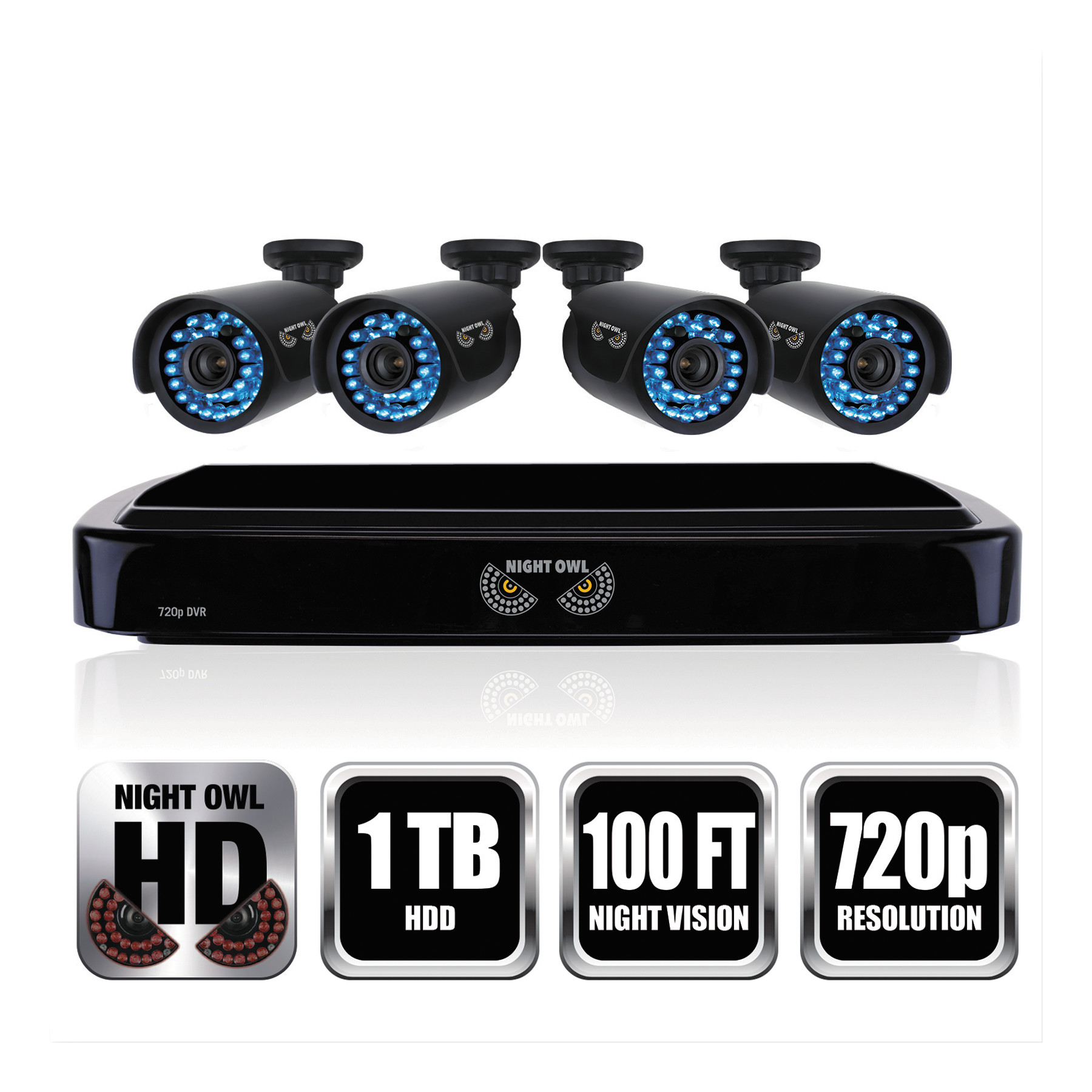 Night Owl Four Channel Smart HD Video Security System With Four 720p HD  Cameras