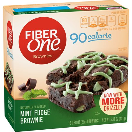 Fiber One Brownies, 90 Calorie Bar, Mint Fudge Brownie, 6 Fiber Bars, 5.34 oz, 0.89 OZ