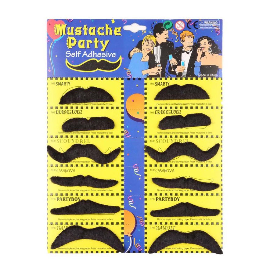 12pcs Stylish Costume Party Fake Beard Mustache Party Funny Beard Whisker