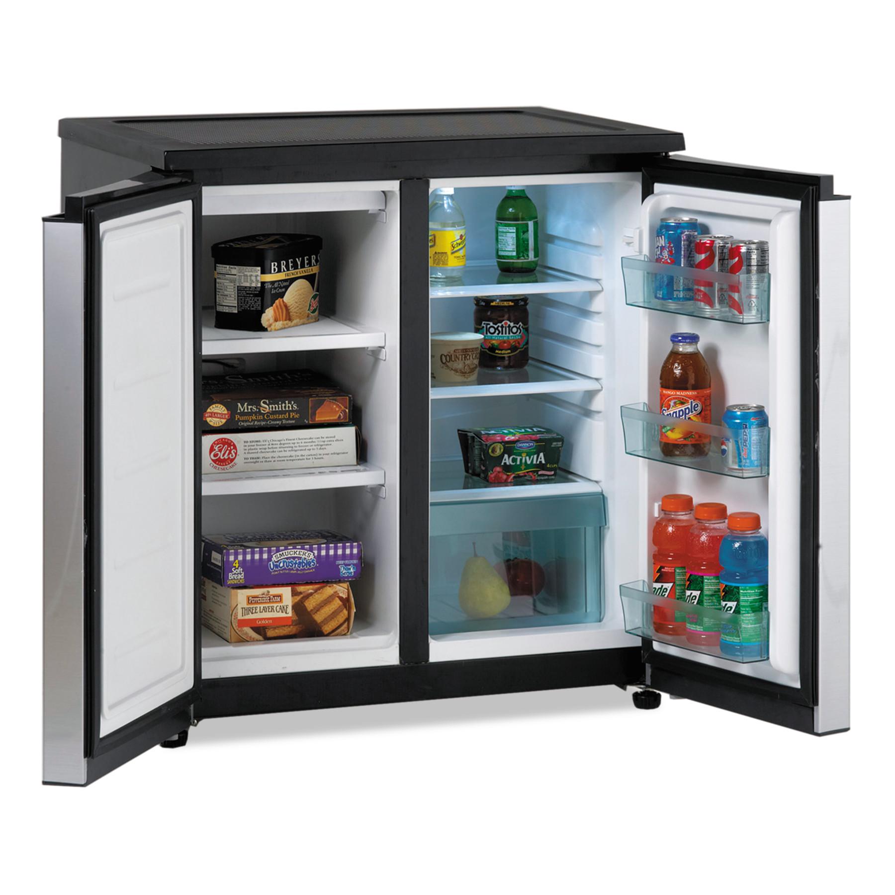 Avanti 5.5 CF Side by Side Refrigerator/Freezer, Black/Stainless Steel