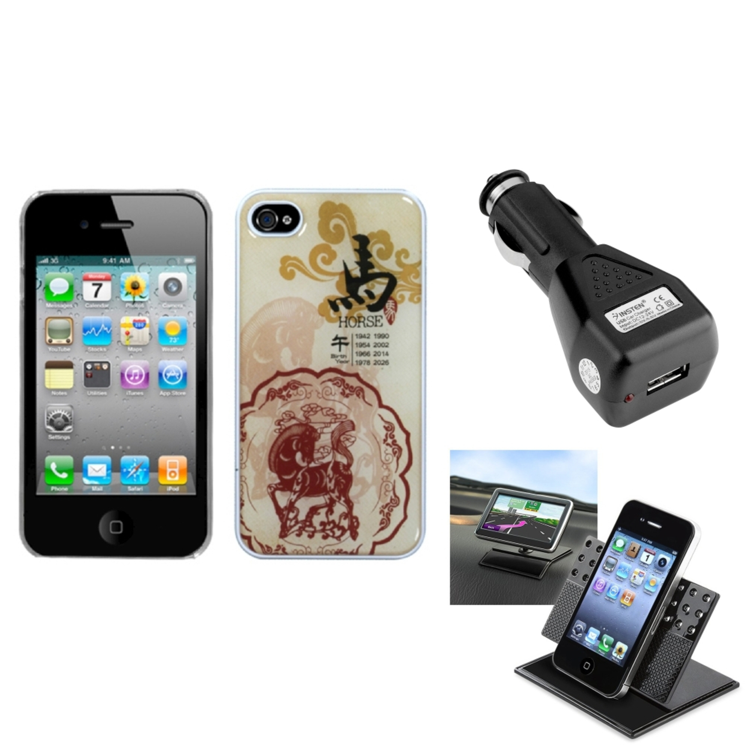 Insten Car Charger+Holder+Horse-Chinese Zodiac Collection Dream Case For iPhone 4/4S