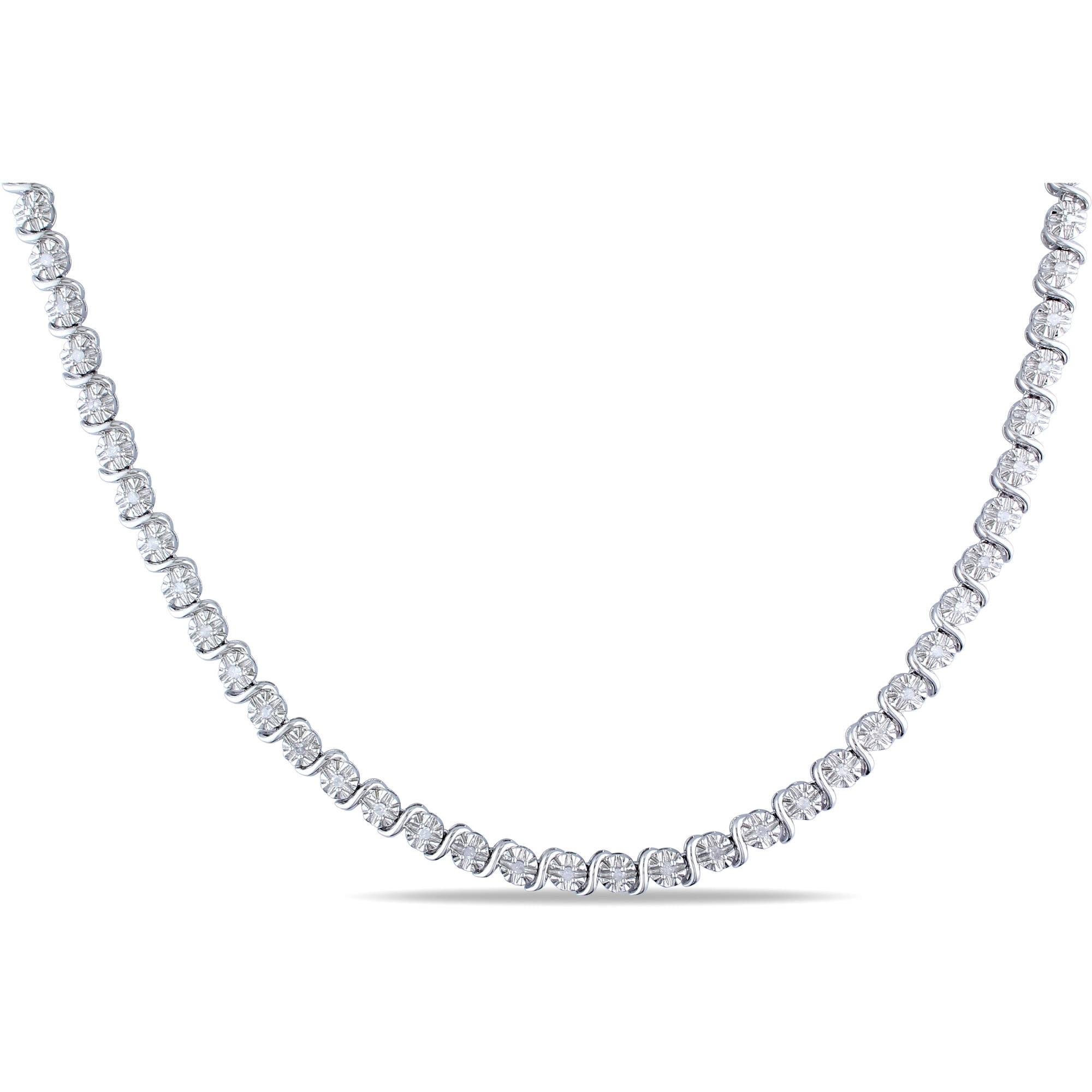 """Miabella 1 2 Carat T.W. Diamond Sterling Silver Necklace, 17"""" by Miabella"""