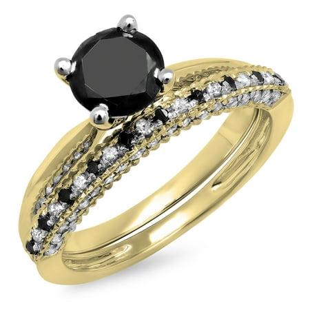 Dazzlingrock Collection 1.50 Carat (ctw) 18K Black & White Diamond Bridal Engagement Ring Set 1 1/2 CT, Yellow Gold, Size (14k Or 18k White Gold For Engagement Ring)