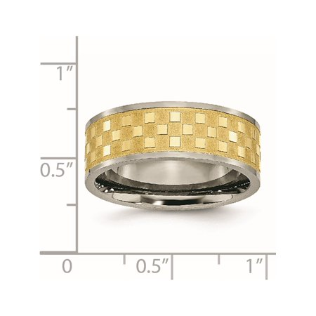 JbSP- Titanium 8mm Yellow IP-plated Satin and Polished Checkered Band - image 2 de 6