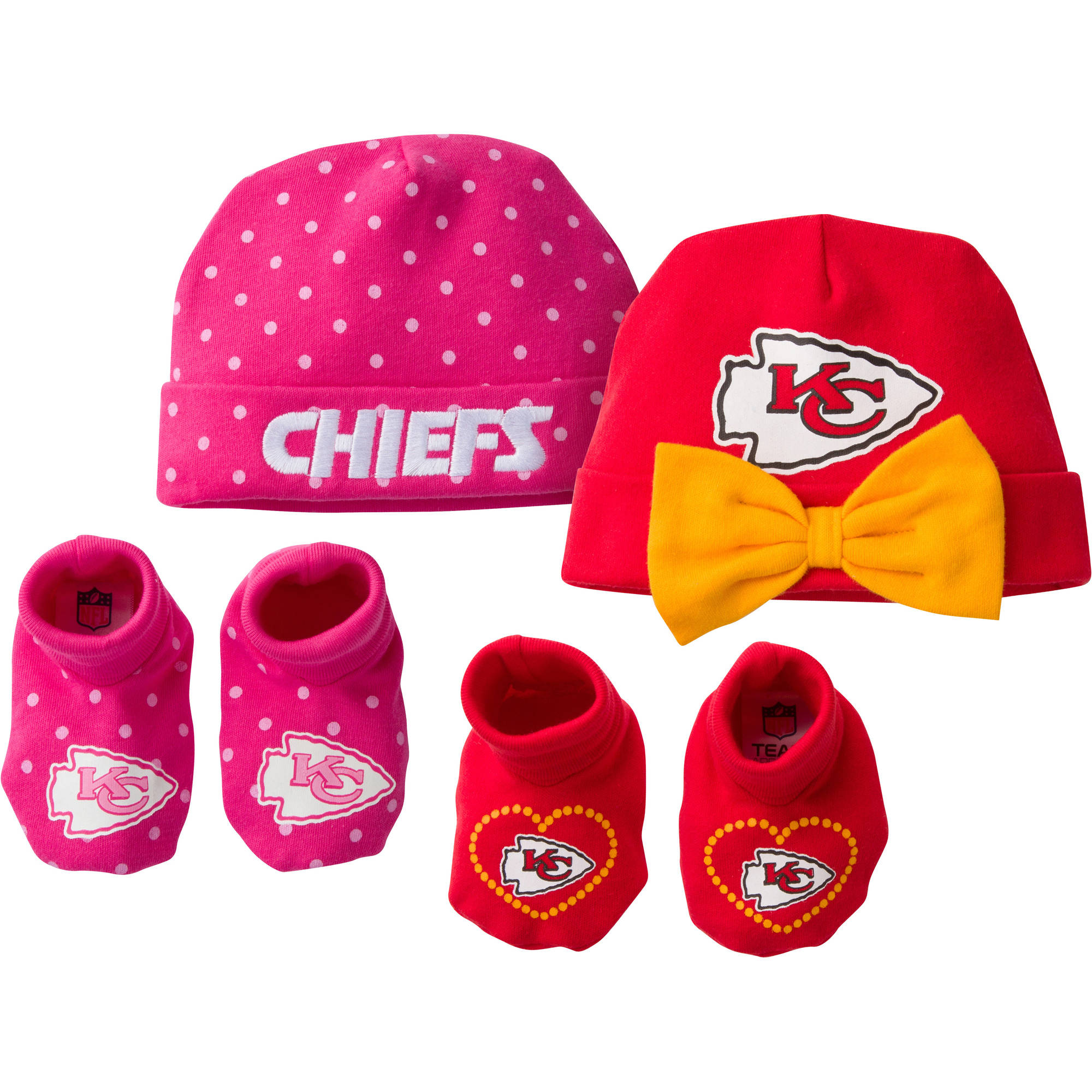 NFL Kansas City Chiefs Baby Girls Accessory Set, 2 Caps and 2 Booties, 4-Piece