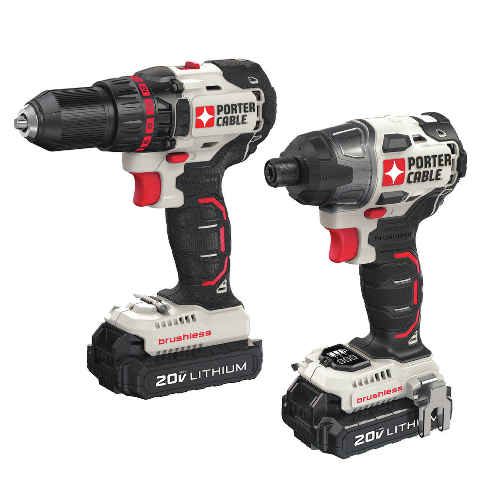 Factory-Reconditioned Porter-Cable PCCK618L2R 20V MAX Cordless Lithium-Ion Brushless Drill and Impact Driver Combo Kit (Refurbished)