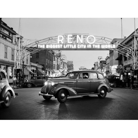 1930s Night Of Arch Over Main Street Reno Nevada Neon Sign The Biggest Little City In The World Print By - Party City Reno Nevada