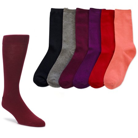 6 Pair Knocker Crew Socks Assorted Solid Colors Women Casual Wear Work Size 9-11