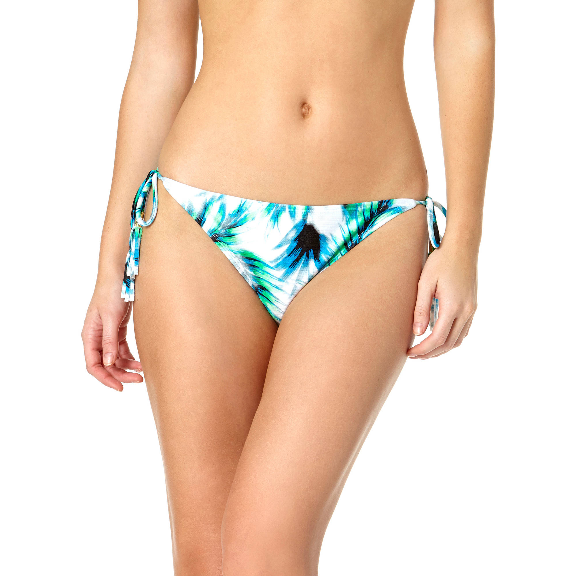 Tahiti Women's Tassel and Bead Trim Side Tie Bikini Swimsuit Bottom