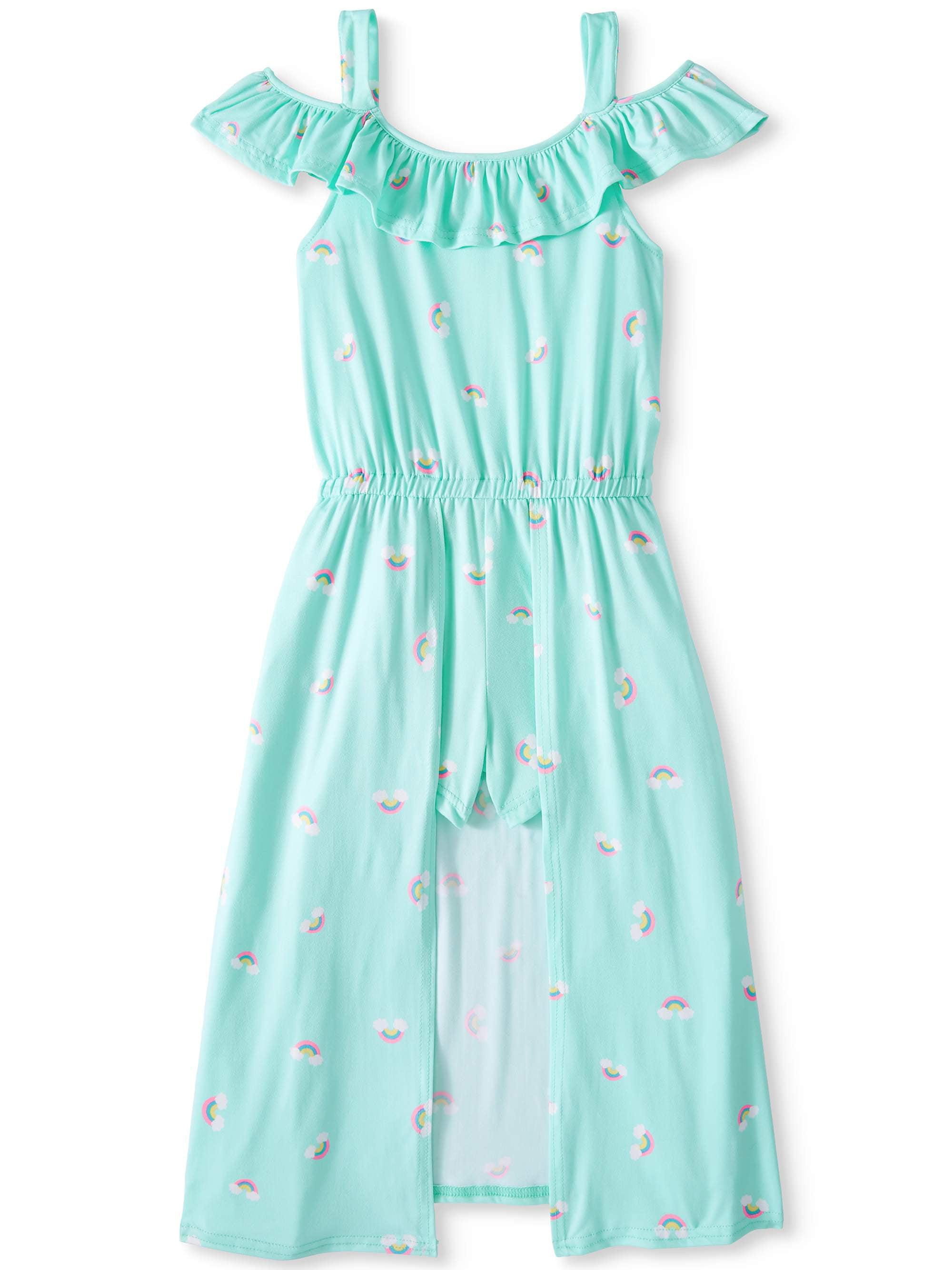 Girls' Rainbow Cold Shoulder Walk-Thru Maxi Dress