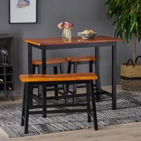 Noble House Parma 4-Piece Black Wood Dining Set