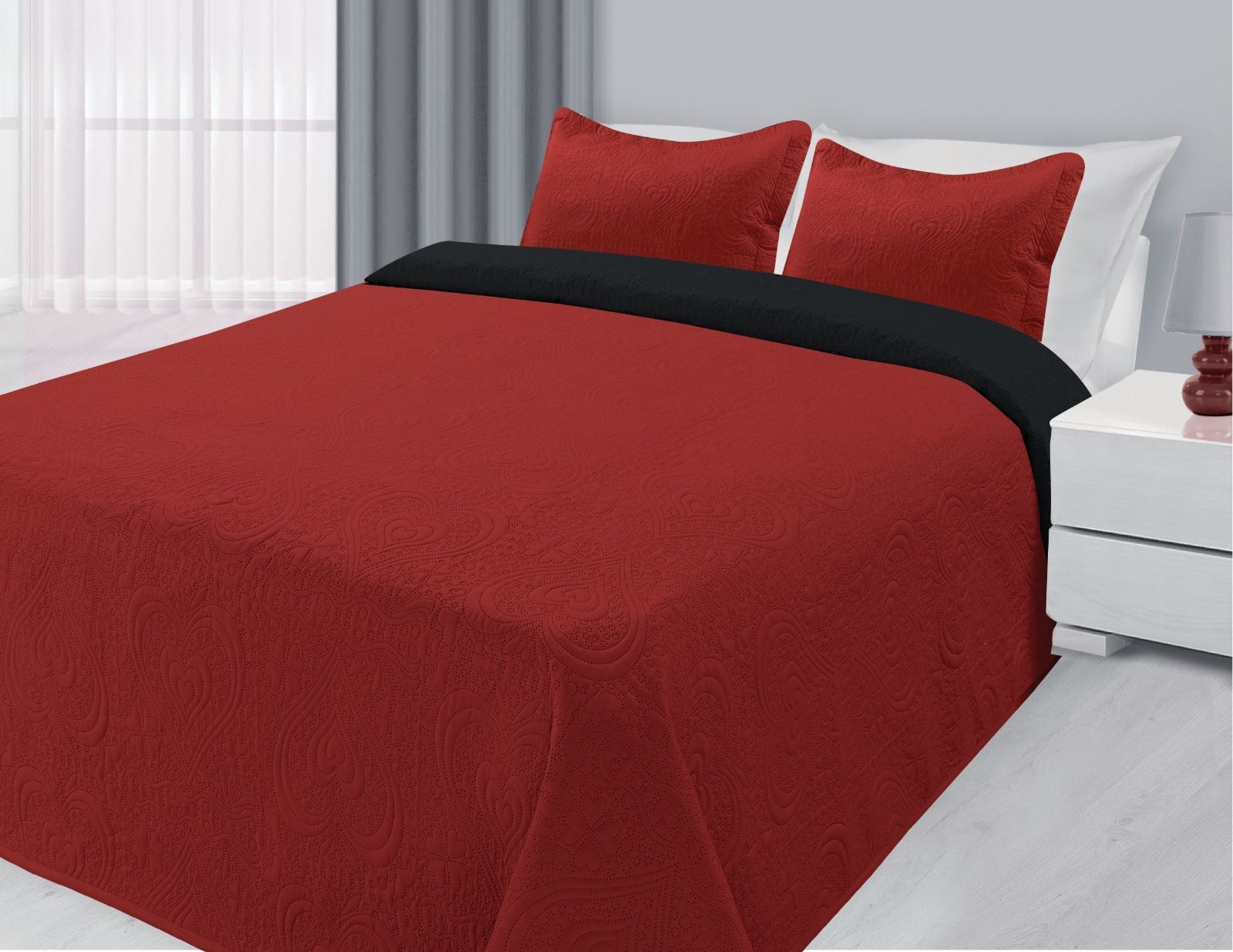 3-Piece Reversible Quilted Bedspread Coverlet Black & Red King Size by