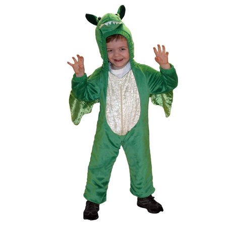 Little Boys Plush Green Dragon Costume Jumper 4-6, Plush green dragon costume By Totally Ghoul