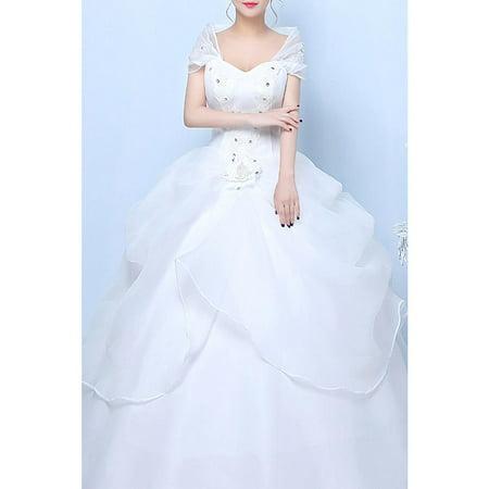 Women Queen Neck Wrap Sleeve Wedding Dress - Queen Of Hearts Card Dress