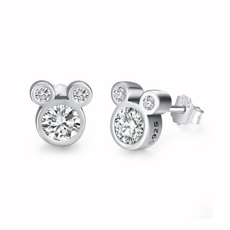 Silver Cat Earring (Twenty Plus 925 Sterling Silver Mickey Diamond Stud Earrings for Women and Girls Fashion Jewelry Gift, 1-Pair)