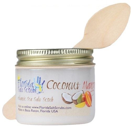 Florida Salt Scrubs Coconut Mango Body Feet Hands Bath Salt Scrub 2.9 oz Jar
