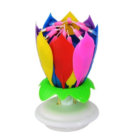 Fairy Cake Candles (Birthday Cake Flower Candles Mixed Colorful Candle with Happy Birthday Music Rotating Setup for Kids )