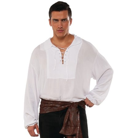 Men's Swashbuckler White Cuffed Lace Up Pirate Shirt Costume](Pirate Shirt Men)