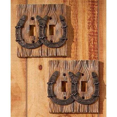 Woodland or Western Decorative Hardware-Set of 2 Horseshoe Double Switch Plates