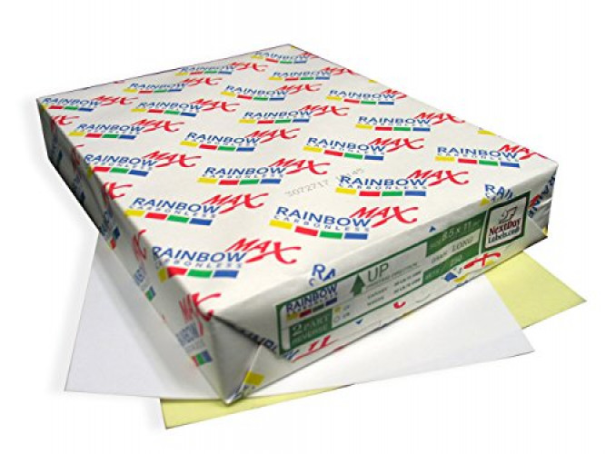 250 Sets, NCR Paper, Collated 2 Part (White, Canary), Letter Size Carbonless Paper Rainbow Brand by Next Day Labels