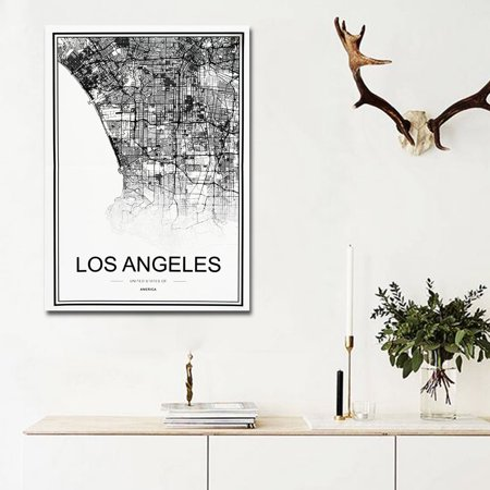 World City Map Abstract Poster Nordic Art Prints Canvas Painting Home Wall (Poster Canvas Art Painting)
