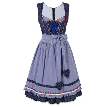 2 Pcs Oktoberfest Costume For Girl Halloween Cosplay Party Dresse with Apron