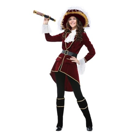 Red Captain Hook Jacket (Women's Captain Hook Costume)