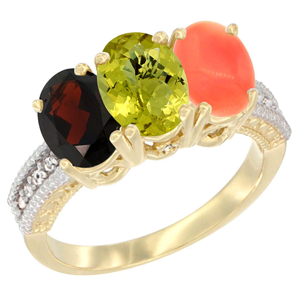 10K Yellow Gold Diamond Natural Garnet, Lemon Quartz & Coral Ring 3-Stone 7x5 mm Oval, sizes 5 - 10