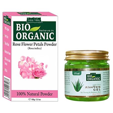 Indus Valley Rose Petal Powder 100% Organic, Natural and Pure With 100% Pure Non-Toxic Aloe Vera Gel For Skin Care And Hair Care (Rose Powder 100grams & Aloe Vera Gel