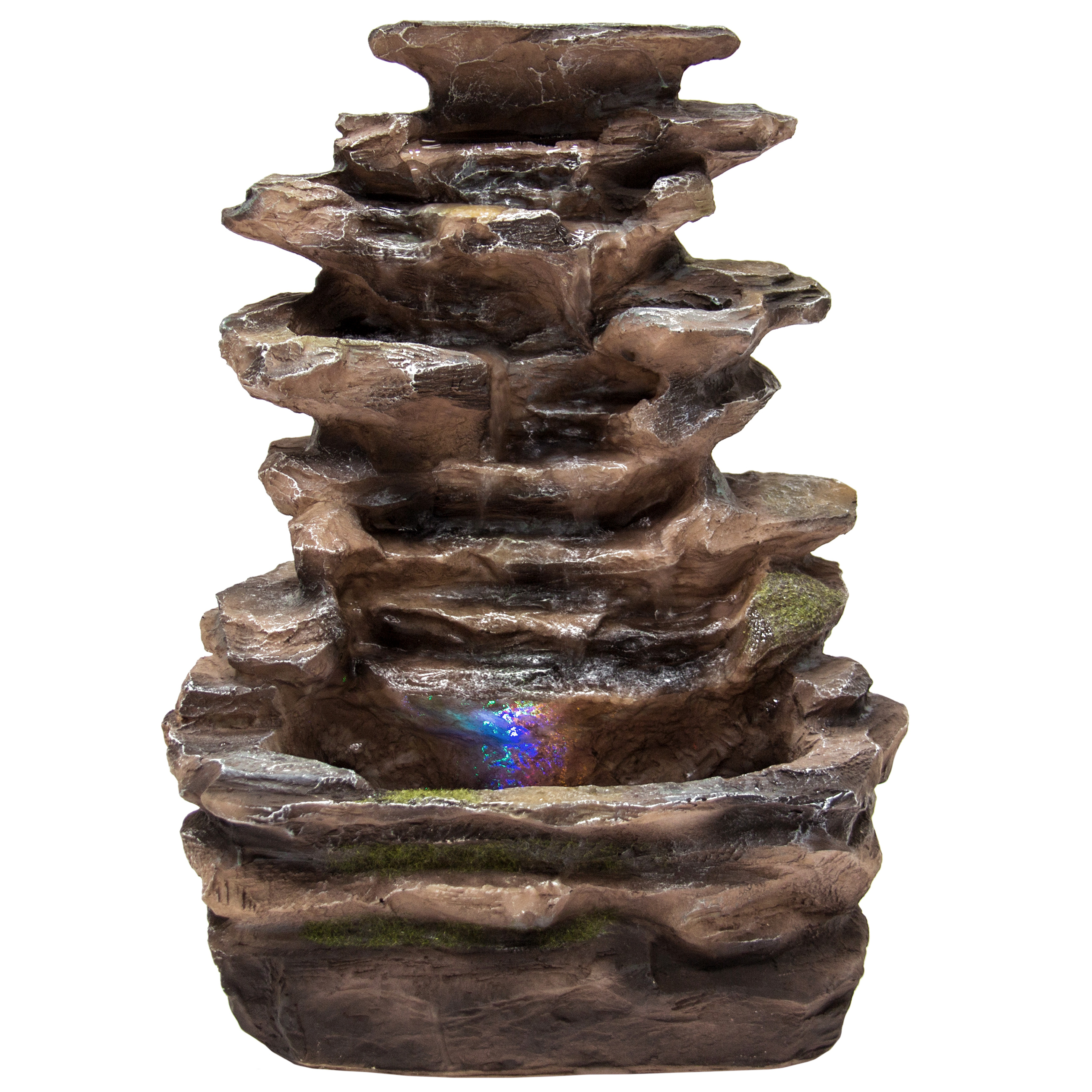Best Choice Products Home Indoor Tabletop Fountain Waterfall With  Multicolor LED Lights