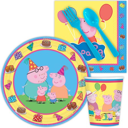 Peppa Pig Standard Birthday Tableware Kit Serves 8 - Party Supplies - Pepper Pig Birthday