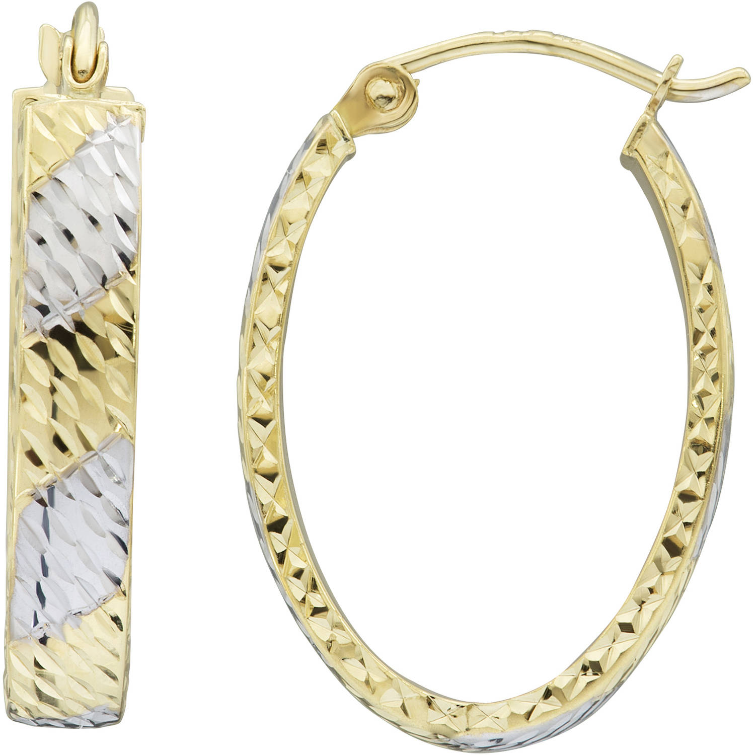 Simply Gold 10kt Yellow Gold with White Rhodium Diamond-Cut Flat Hoop Earrings