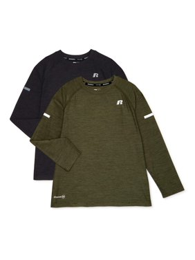 Russell Boys Long Sleeve Performance T-Shirt, 2-Pack, Sizes 4-18 & Husky