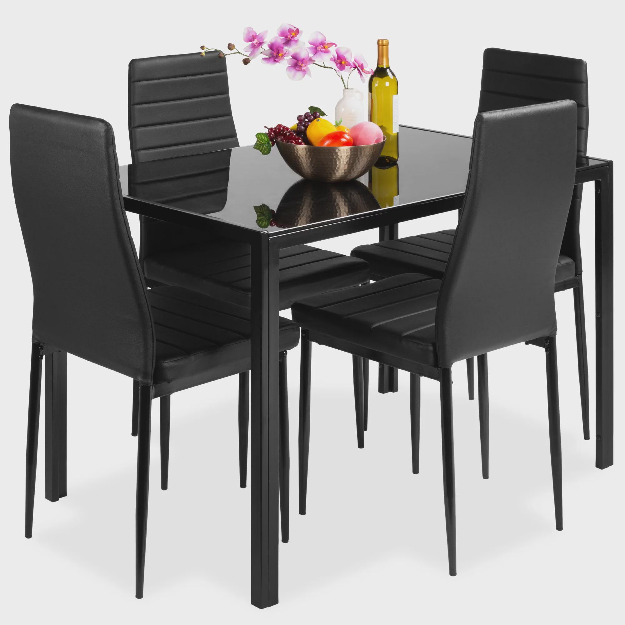 Best Choice Products 5-Piece Kitchen Dining Table Set w/ Glass