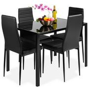 Best Choice Products 5-Piece Kitchen Dining Table Set w/ Glass Tabletop, 4 Faux Leather Chairs - Black