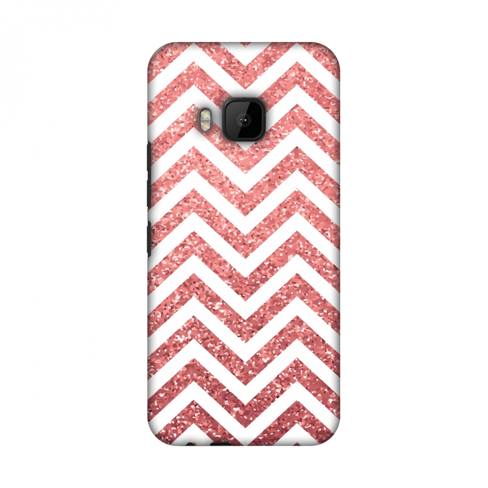 HTC One M9 Case, Premium Handcrafted Printed Designer Hard ShockProof Case Back Cover for HTC One M9 - All that Glitters Chevron 1