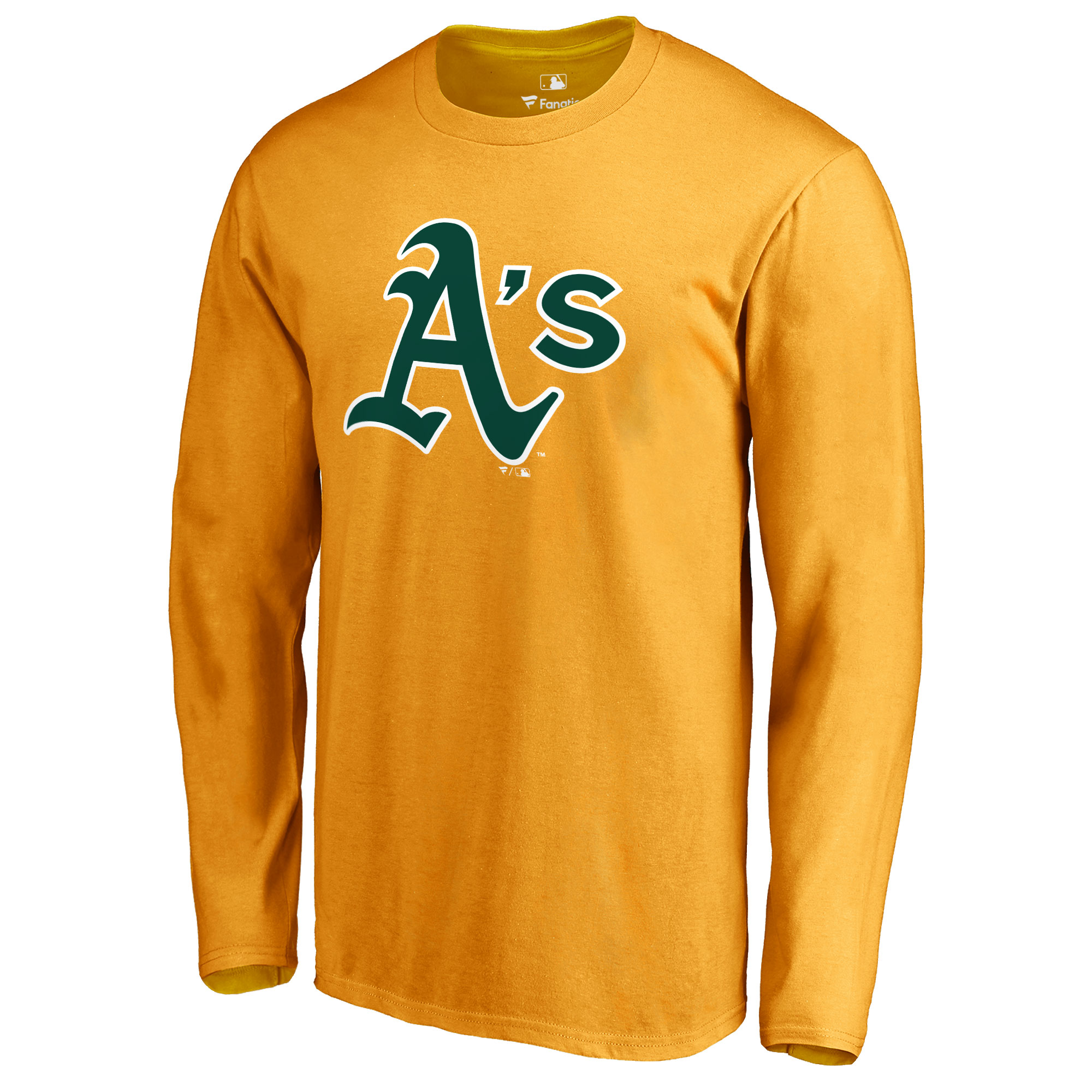 Oakland Athletics Secondary Color Primary Logo Long Sleeve T-Shirt - Gold