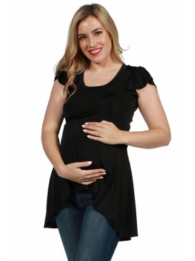 24seven Comfort Apparel Cap Sleeve Hi Low Maternity Tunic Top in Black Size S