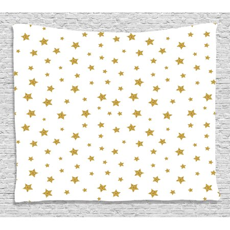 House Decor Tapestry, Golden Stars Pattern Creative Stylish Birthday Bachelorette Theme Decoration, Wall Hanging for Bedroom Living Room Dorm Decor, 80W X 60L Inches, Gold White, by Ambesonne