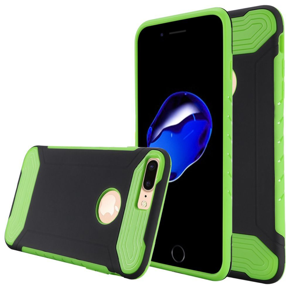 iPhone 8 Plus case, iPhone 7 Plus case, by Insten Hard Hybrid TPU Case for Apple iPhone 8 Plus / iPhone 7 Plus - Black/Green