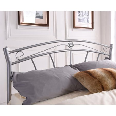 Hodedah Complete Metal Queen Size Bed in Silver - image 3 de 3