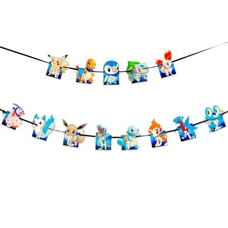 Happy Birthday Banner Pokemon Style Party Decorations Supplies