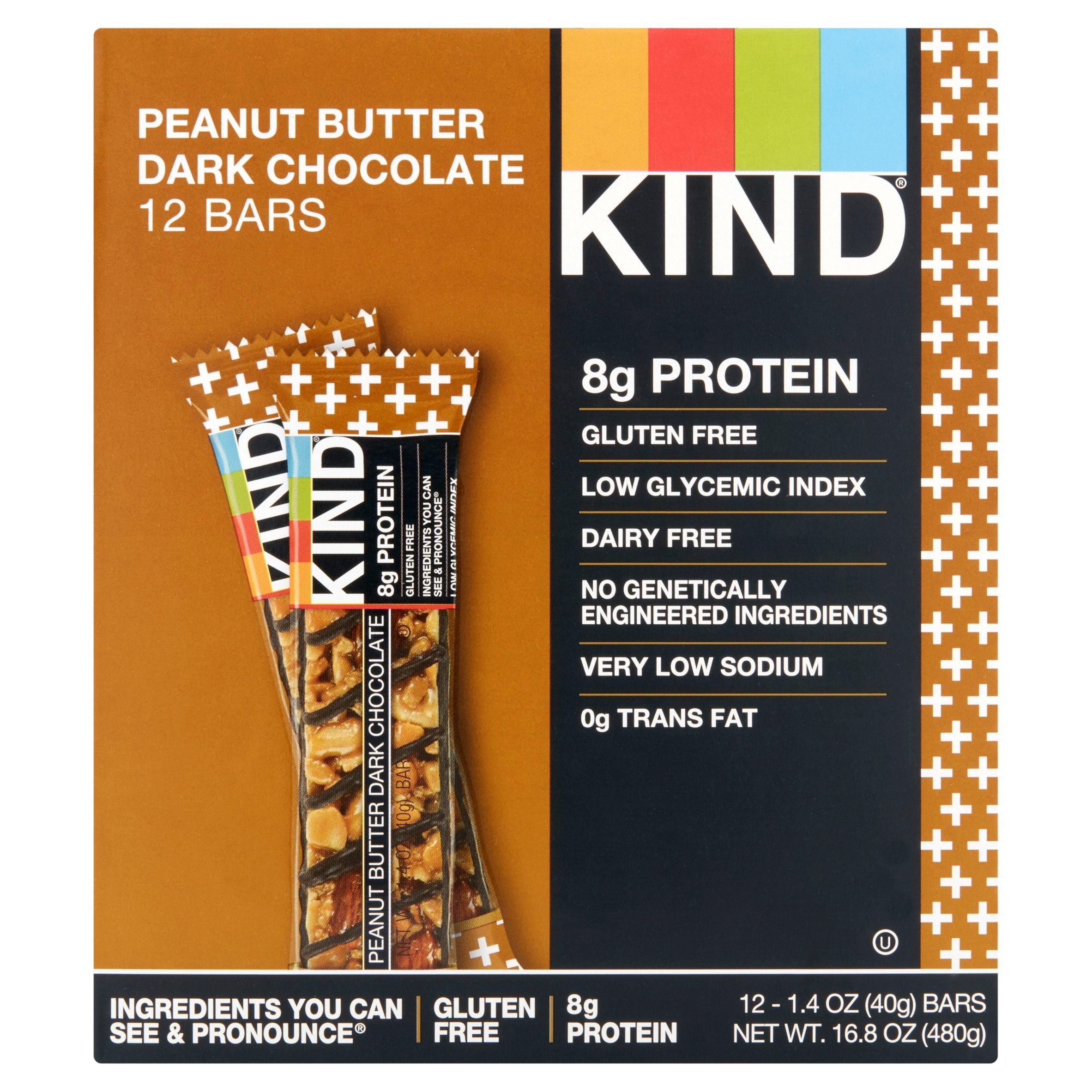 KIND Bars, Peanut Butter Dark Chocolate, Gluten Free, Low Sugar, 1.4oz, 12 Count