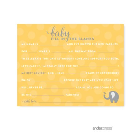 Fill-In-The-Blank Yellow Gender Neutral Elephant Baby Shower Games, 20-Pack - Gender Neutral Baby Shower Decorations