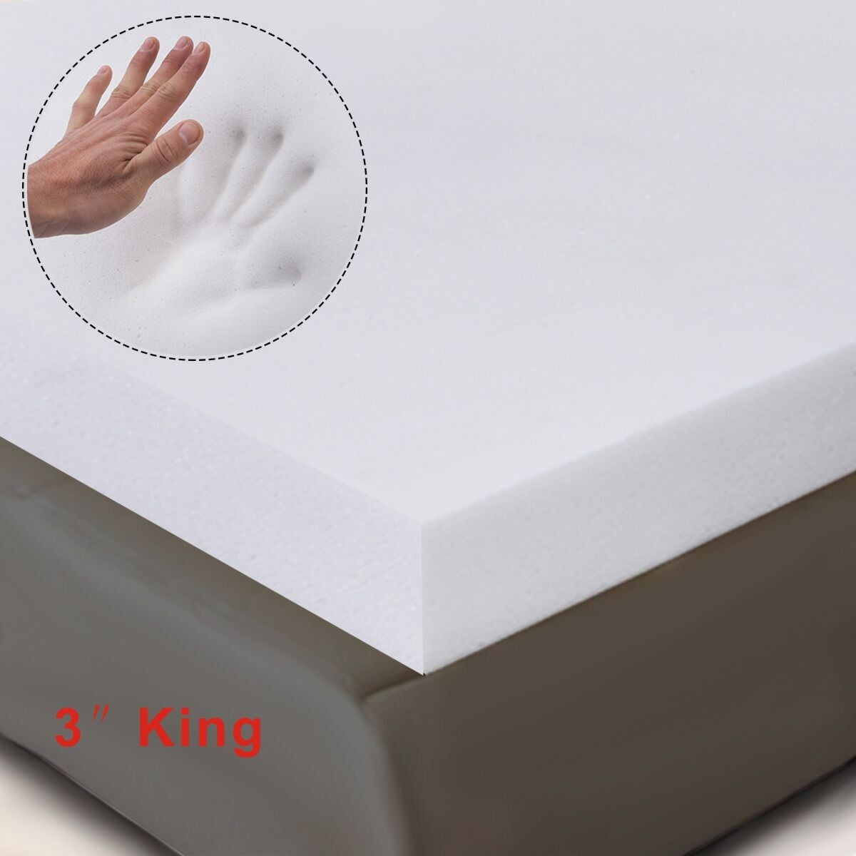 Costway 3'' King Size Memory Foam Mattress Pad, Bed Topper 80''x76''x3''