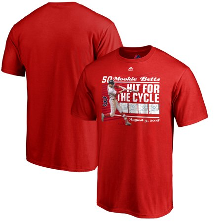 Mookie Betts Boston Red Sox Majestic 2018 Hit For The Cycle T-Shirt -