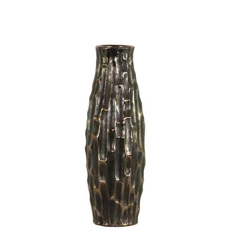 Black Ceramic Vase - Urban Trends Collection: Ceramic Vase Distressed Finish Black