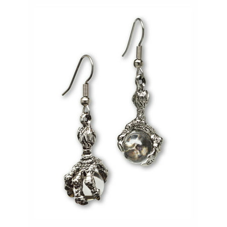 Dragon Claw Dangle Earrings with Clear Crystal Ball by Real Metal Jewelry